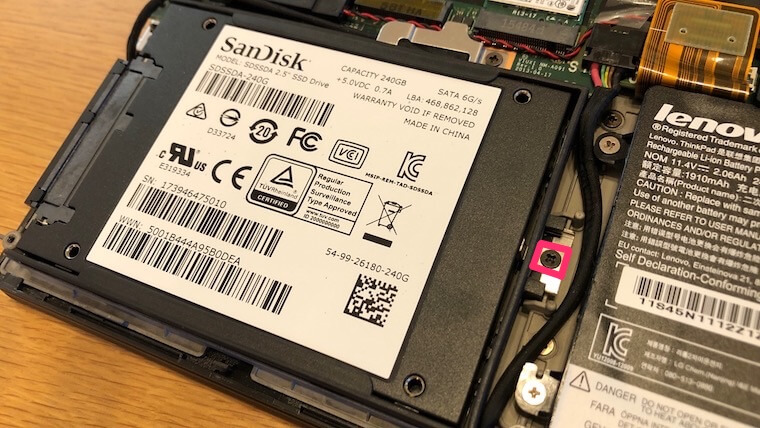 ThinkPad X250:SSD換装