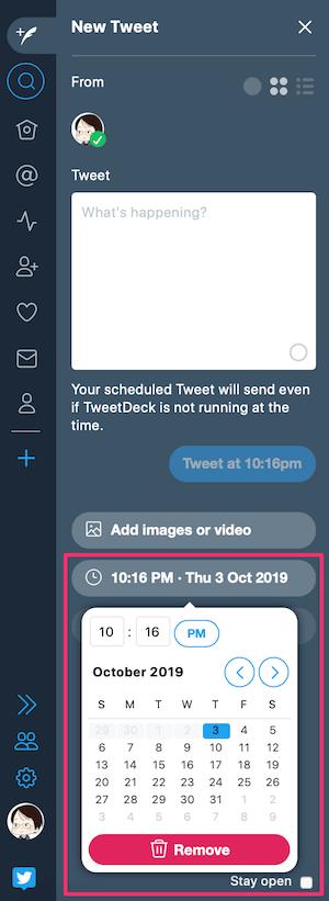 TweetDeck:ツイートの予約投稿画面