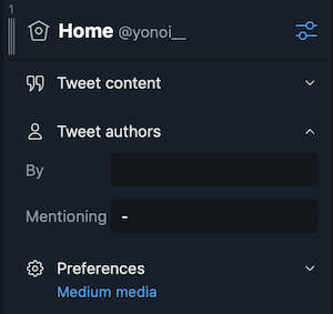 TweetDeck:Tweet authorsの設定項目