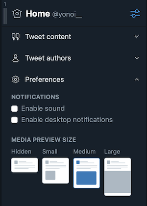 TweetDeck:Preferencesの設定項目