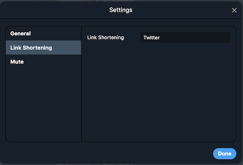 TweetDeck:Settings(Link Shortening)