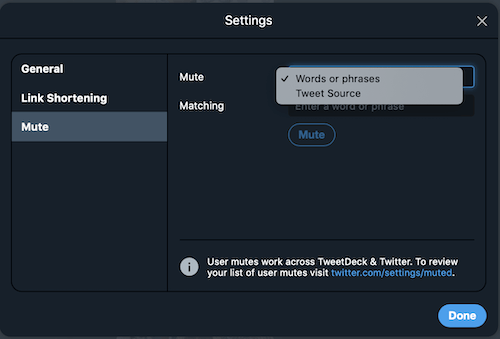 TweetDeck:Settings(Mute)