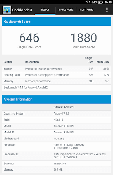 Geekbench 3:Fire 7(2019)