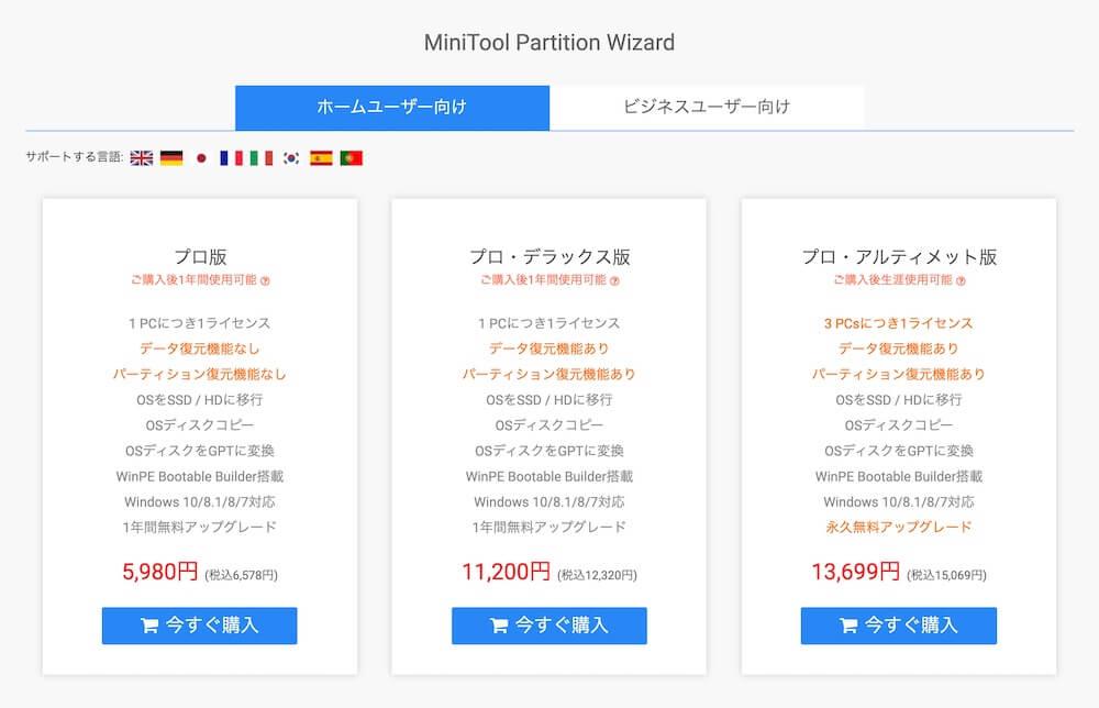 Minitool Partition Wizard:バージョンと商品価格