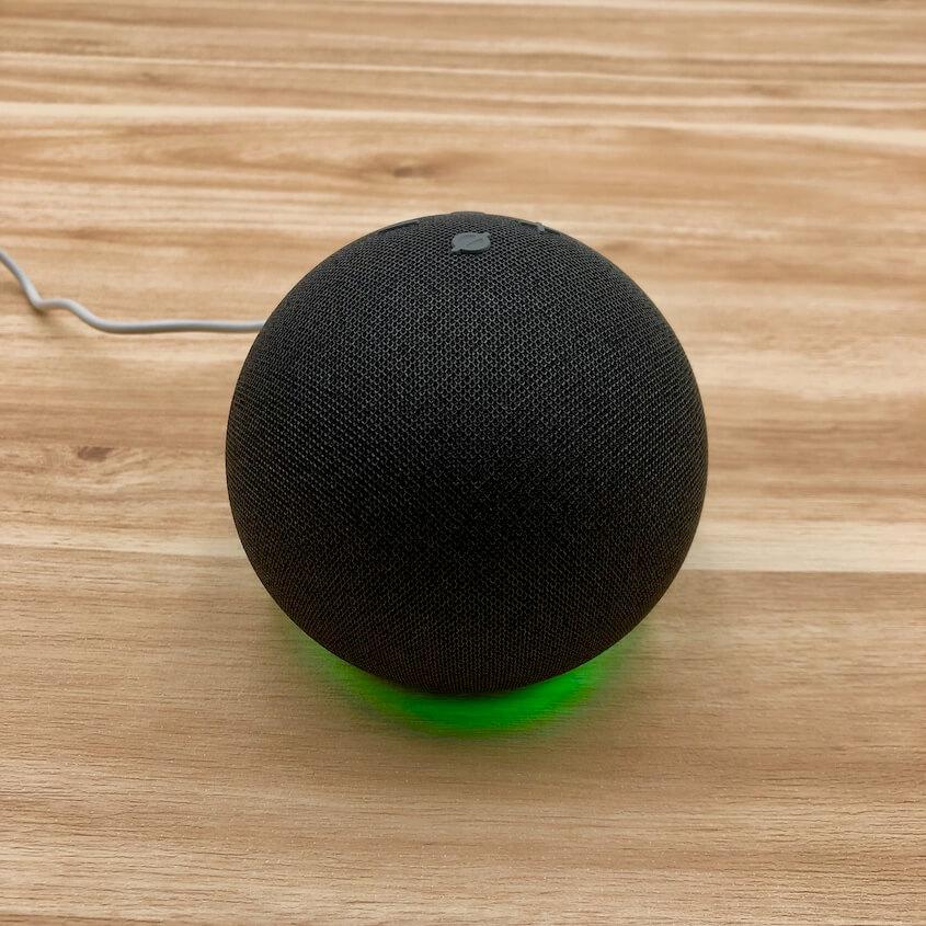 Echoのライトリング:緑色のライトが点灯